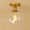 Industrial Vintage 8''W Flush Mount Ceiling Fixture with Globe Glass Shade in Brass/Bronze/Copper Finish