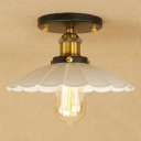 Industrial Vintage 9.8''W Flushmount Ceiling Light with Scalloped Metal Shade, White