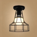 Industrial 6.9''W Flushmount Ceiling Light with Metal Cage in Black Finish