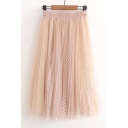 Hot Fashion Plain Lace Panel Elastic Waist Skirt