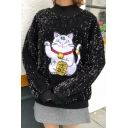 Fancy High Neck Sequined Fortune Cat Applique Pullover Loose Sweatshirt