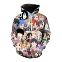 Fashionable Cartoon Comic Character Printed Long Sleeves Pullover Hoodie with Pocket