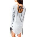 Fancy Round Neck Hollow Bow Tie Back Lace-up Side Pullover Sweatshirt Mini Dress