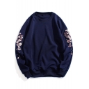 Chic Floral Print Long Sleeve Round Neck Pullover Sweatshirt