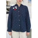 Embroidered Embellished Lapel Collar Single Breasted Long Sleeve Loose Shirt