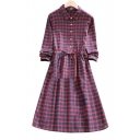 Spring'New Arrival Lapel Collar Plaid Single Breasted Long Sleeve Midi Dress