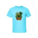 Cute Cartoon Cactus Print Letter Print Round Neck Short Sleeve Tee