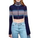 Fashionable Striped Print Turtleneck Flared Sleeve Zipper Cropped Cardigan
