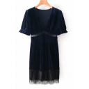 Elegant V-Neck Lace Panel Patchwork Short Sleeves Shift Mini Velvet Dress