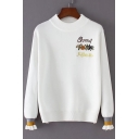 Simple Letter Floral Embroidered Crew Neck Striped Cuffs Long Sleeves Pullover Sweater