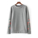Trendy Floral Pattern Round Neck Long Sleeves Pullover Loose Sweatshirt