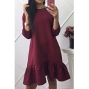 Simple Plain Round Neck 3/4 Length Sleeve Ruffle Hem Dress