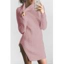 Winter Collection Turtleneck Long Sleeves Split Hem Knitted Mini Slim-Fit Sweater Dress