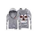 Causal Letter Umbrella Print Zip Up Pocket Long Sleeve Hoodie