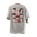 Unique Graffiti Japanese Character Comic Cartoon Printed Round Neck Half Sleeves T-shirt