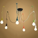 Industrial Colorful 6 Light Multi Light Pendant in Open Bulb Style