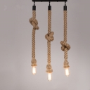 Industrial 13.8''W Multi Light Pendant with Rope in Vintage Style, 3 Light