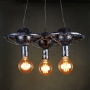 Industrial 3 Light Multi-Light Pendant Light in Bar Style, Antique Silver