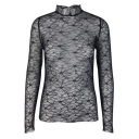 Ladylike High Neck Floral Lace Panel Long Sleeves Slim-Fit Mesh Blouse