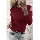 Autumn Fashion Lace Panel Patchwork Crew Neck Long Sleeves Autumn Slim-Fit Tee Top