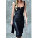 Women's Fashion Notched Front Slim-Fit Bodycon Leather Midi Dress