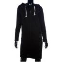Stylish Plain Drawstring Hood Long Sleeve Zipper Hooded Dress