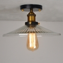 1 Light Semi Flush Mount 8''H LED Ceiling Fixture with Ribbed Glass