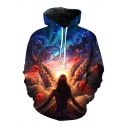 Unique Magic World Octopus Girl Character Galaxy Printed Pullover Hoodie with Pocket