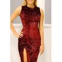 Elegant Round Neck Sleeveless Split Front Sequined Midi Slim-Fit Bodycon Dress