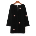 Trendy Floral Embroidered Round Neck Long Sleeve Dress