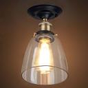 1 Light Vintage Bronze LED Semi Flush Mount with Clear Glass Dome Shape