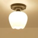 Industrial Vintage 6''W Flushmount Ceiling Light with White Glass Shade
