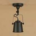 Industrial 5.3''W Semi-Flush Ceiling Light Soptlight with Metal Shade in Black