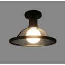 Industrial 9.8''W Semi-Flush Ceiling Light with Metal Mesh in Barn Style, Black
