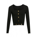 New Fashion Plain Square Neck Long Sleeve Button Cropped Tee