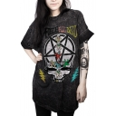 Cool Skull Letter Star Pattern Round Neck Short Sleeves Tunic Tee