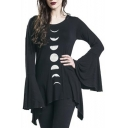 Gothic Moon Eclipse Pattern Asymmetrical Hem Bell Sleeves Hooded Tee