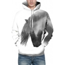Trendy Horse Forest Landscape Pattern Long Sleeves Pullover Monochrome Hoodie with Pocket