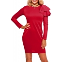 Stylish Ruffle Shoulder Round Neck Plain Bodycon Mini Dress