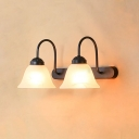 Industrial Vintage 2 Light Multi Light Wall Sconce with Bell Glass Shade, White