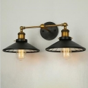 Industrial 2 Light Multi Light Wall Sconce with Cone Metal Shade in Black