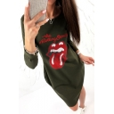 Cool Mouth Lips Letter Printed Round Neck Long Sleeves T-shirt Dress with Pockets