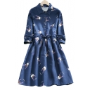 Little Fawns Printed Lapel Collar Drawstring Waist Long Sleeve Midi Dress