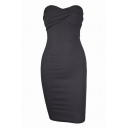 New Stylish Simple Plain Bandeau Bodycon Dress