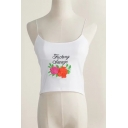New Trendy Embroidery Floral Letter Pattern Summer Cami