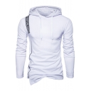 Men's Fashion Letter Detail Asymmetrical Hem Long Sleeves Hooded Pullover Tee