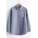 Trendy Elephant Pattern Point Collar Long Sleeves Button Down Casual Shirt