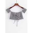 Classic Striped Print Sexy Off Shoulder Short Sleeve Drawstring Front Cropped Tee