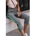 Trendy Tartan Plaids Striped Side Drawstring Waist Slim-Fit Pants Capris