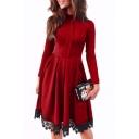 New Fashion Crochet Simple Plain Long Sleeve Turtleneck Dress